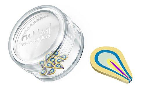 ruNail, Дизайн для ногтей: Резиновые аппликации (фигурки, желто-голубой), FIMO005Резиновые аппликации<br><br>