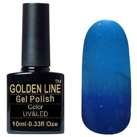 Golden Line, Гель лак - Thermo 14Golden Line<br>Термо гель-лак, синий/голубой, с больним количеством блесток, плотный<br>