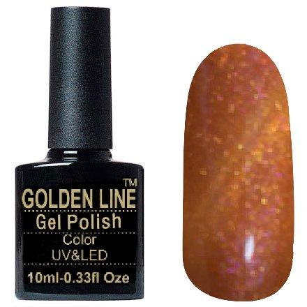 Golden Line, Гель лак - Sparklers HG 01Golden Line<br>Гель-лак кошачий глаз, медный с розовыми микроблестками, плотный<br>