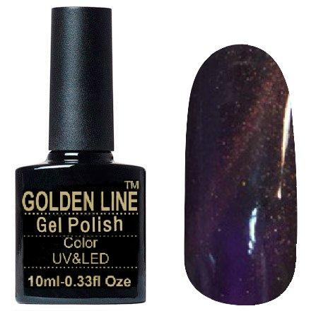 Golden Line, Гель лак - Sparklers HG 02Golden Line<br>Гель-лак кошачий глаз, сливовыйс золотистыми микроблестками, плотный<br>