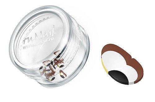 ruNail, Дизайн для ногтей: Резиновые аппликации (крылья бабочки, бело-коричневый), FIMO009 (RuNail (Россия))