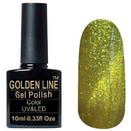 Golden Line, Гель лак - Sparklers HG 09Golden Line<br>Гель-лак кошачий глаз, мерцающий золотисто-зеленый, плотный<br>