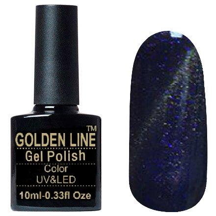 Golden Line, Гель лак - Sparklers HG 08Golden Line<br>Гель-лак кошачий глаз, темно-пурпурно-фиолетовый, с фиолетовыми микро-блестками,плотный<br>