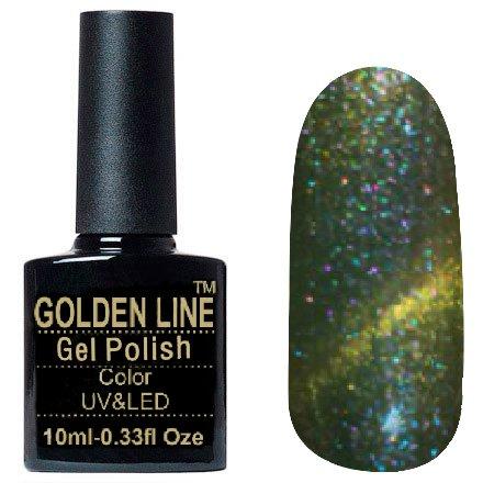 Golden Line, Гель лак - Sparklers HG 13Golden Line<br>Гель-лак кошачий глаз, травенисто-зеленый,с миксом розовых и голубых микроблесток,плотный<br>