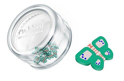 ruNail, Дизайн для ногтей: Резиновые аппликации (бабочки, серо-зеленый), FIMO012 (RuNail (Россия))