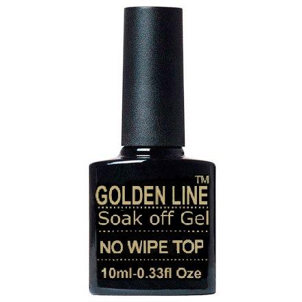 Golden Line, Top Coat - Топ без липкого слоя для гель-лака (10 мл.)Golden Line<br>Топ без липкого слоя для гель-лака<br>