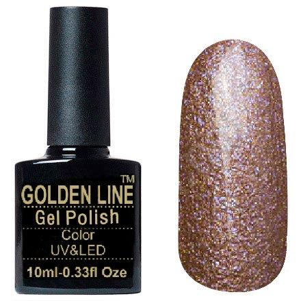 Golden Line, Гель лак - Sparklers HG 17Golden Line<br>Гель-лак кошачий глаз, коричневый,с миксом оранжевых и сиреневых микроблесток,плотный<br>