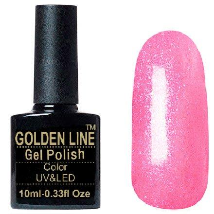 Golden Line, Гель лак - BS 317Golden Line<br>Гель-лак неоно-розовый, с блестками, полупрозрачный<br>