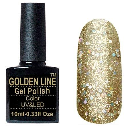 Golden Line, Гель лак - BS 331Golden Line<br>Гель-лак полупрозрачный, с золотыми микроблестками и групными голографическими<br>
