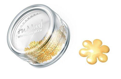 ruNail, Дизайн для ногтей: цветы из ткани FRFL009 (золотой)Украшения из ткани<br>Цветы из ткани устойчивы к мономеру. Их можно использовать для дизайна как натуральных, так и искусственных ногтей (акрил, гель).<br>