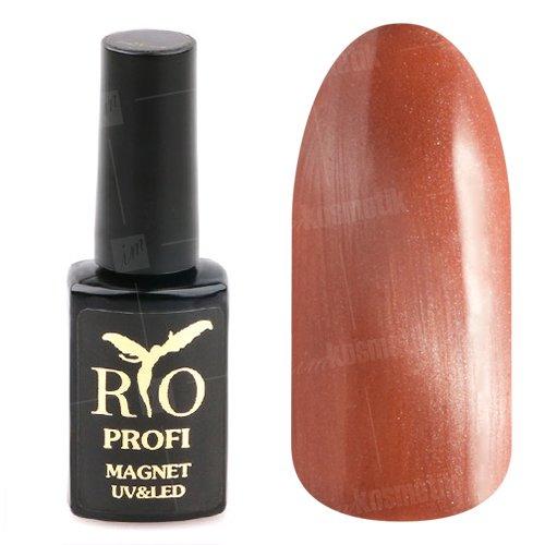Rio Profi, Гель-лак - Магнитный Кошачий глаз №07 (7мл.)Rio Profi<br>Гель-лак Кошачий глаз, оранжевый, перламутр, плотный<br>