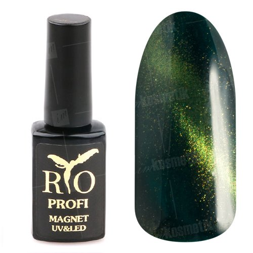 Rio Profi, Гель-лак - Магнитный Кошачий глаз №13 (7мл.)Rio Profi<br>Гель-лак Кошачий глаз, черно-зеленый, с блестками, плотный<br>