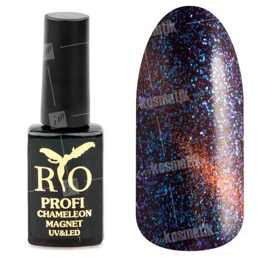 Rio Profi, Гель-лак - Сияющий Магнитный Кошачий глаз №04 (7мл.)Rio Profi<br>Гель-лак Сияющий Магнитный гель лак, фиолетовый, с золотистым переливом, плотный<br>