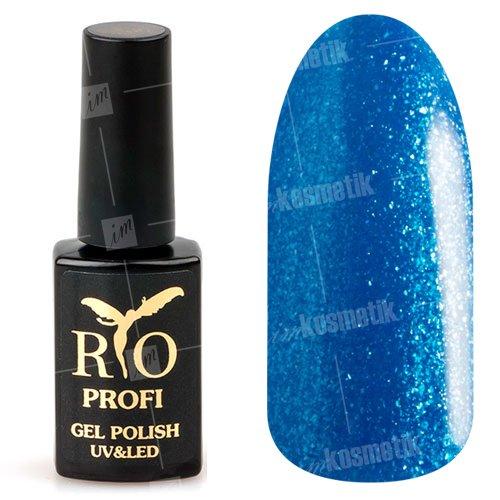 Rio Profi, Гель-лак каучуковый - Лазурный синий №15 (7мл.)Rio Profi<br>Гель-лак каучуковый, лазурный синий, с перламутром и блестками, плотный<br>