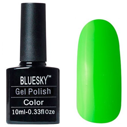 Bluesky Шеллак Neon 15Bluesky 10 мл<br>Гель-лак зеленый, без блесток и перламутра, полупрозрачный, неоновый.<br>