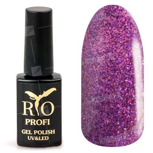 Rio Profi, Гель-лак каучуковый - Фиолетовый с блестками №42 (7мл.)Rio Profi<br>Гель-лак каучуковый, фиолетовый, с блестками,полупрозрачный<br>