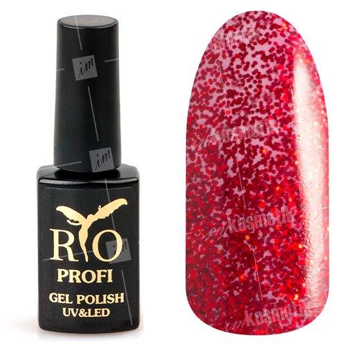 Rio Profi, Гель-лак каучуковый - Красный со слюдой №51 (7мл.)Rio Profi<br>Гель-лак каучуковый, красный со слюдой, плотный<br>