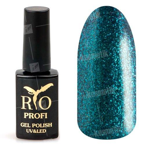 Rio Profi, Гель-лак каучуковый - Сине-изумрудный с глиттером №55 (7мл.)Rio Profi<br>Гель-лак каучуковый, сине-изумрудный, с болишим количеством глиттера, плотный<br>
