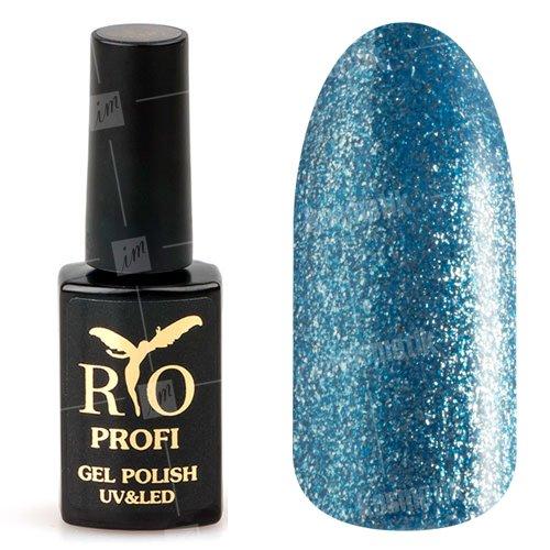 Rio Profi, Гель-лак каучуковый - Морская волна с глиттером №64 (7мл.)Rio Profi<br>Гель-лак каучуковый, цвета морской волны, с глиттером, плотный<br>