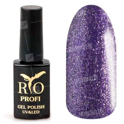 Rio Profi, Гель-лак каучуковый - Фиолетовый с глиттером №66 (7мл.)Rio Profi<br>Гель-лак каучуковый, фиолетовый, с серебряным глиттером, плотный<br>