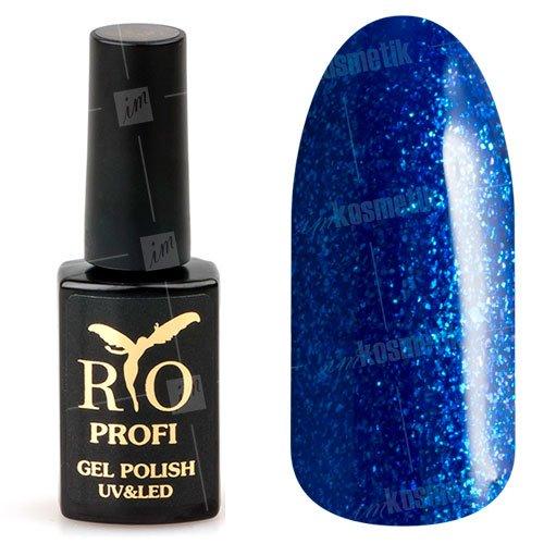 Rio Profi, Гель-лак каучуковый - Ультрамарин с глиттером №67 (7мл.)Rio Profi<br>Гель-лак каучуковый, ультрамарин, с глиттером, плотный<br>