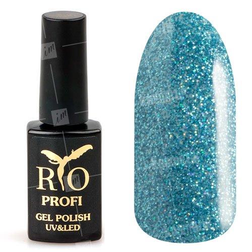 Rio Profi, Гель-лак каучуковый - Голубой с микроблеском №77 (7мл.)Rio Profi<br>Гель-лак каучуковый, голубой, с большим количеством микроблесток, плотный<br>