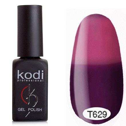 Kodi, Термо гель-лак № Т629 (8 ml)Kodi Professional <br>Гель-лактемно-фиолетовый/малиново-розовый, без блесток и перламутра, плотный.<br>