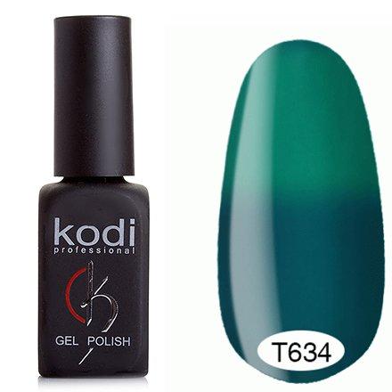 Kodi, Термо гель-лак № Т634 (8 ml)Kodi Professional <br>Гель-лактемно-бирюзовый/зеленый, без блесток и перламутра, плотный.<br>