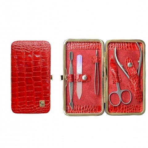 Staleks, Маникюрный набор - Рамка стандарт НМ-04-1 (Красный крокодил лак)Инструменты для педикюра<br>Лакированный маникюрный набор «Рамка стандарт» НМ-04/1 (Красный крокодил-01)<br>