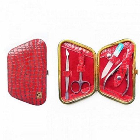 Staleks, Маникюрный набор - Рамка-трапеция НМ-04-4 (Питон, красные блестки лак)Инструменты для педикюра<br>Лакированный маникюрный набор (Питон, красные блестки)<br>