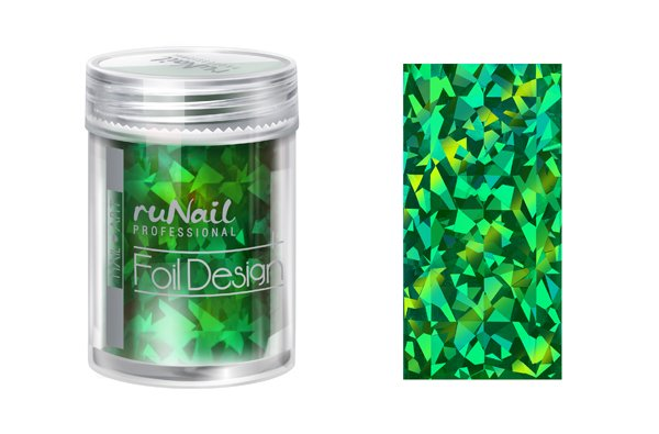 ruNail, Дизайн для ногтей: фольга 1994 (зеленый, голографический)Фольга отрывная<br>Фольга для создания эффектного маникюра. Подходит для дизайна в технике литье. С геометрическим узором.<br>