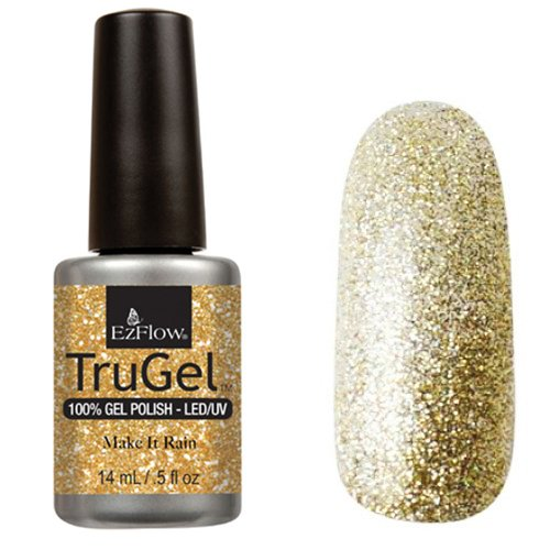 EzFlow TruGel 42481 - Make It Rain 14 mlEzFlow TruGel<br>Эластичный растворяемый гелевый лак EzFlow TruGel, золотойоттенок с крупными и мелкими золотистыми блестками.<br>