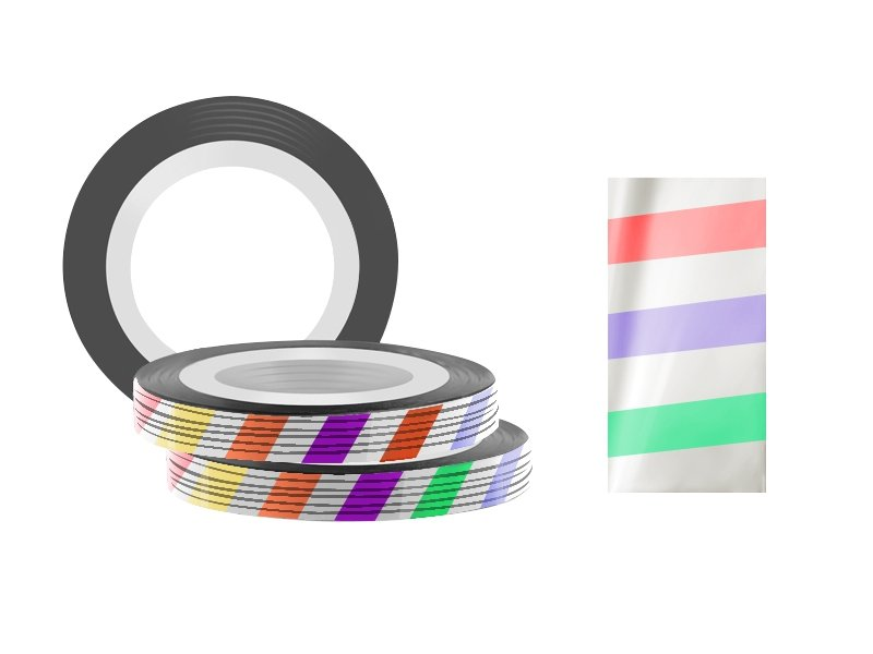 Jessnail, Фольга для дизайна в рулонах 20м*0,8мм №13, радуга - ColouredСамоклеющаяся лента для дизайна ногтей<br>Фольга для дизайна в рулонах 20м*8мм №13, радуга<br>