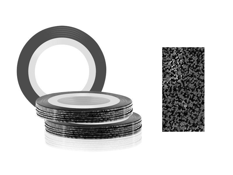 Jessnail, Фольга для дизайна в рулонах 20м*0,8мм №19, голография черный/Laser BlackСамоклеющаяся лента для дизайна ногтей<br>Фольга для дизайна в рулонах 20м*8мм №19, голография черный<br>