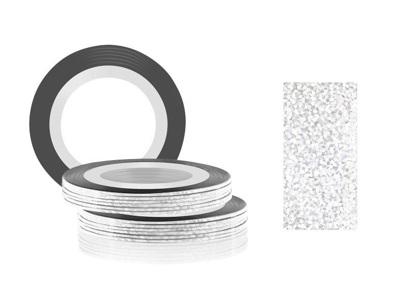 Jessnail, Фольга для дизайна в рулонах 20м*0,8мм №20, голография белый - Laser WhiteСамоклеющаяся лента для дизайна ногтей<br>Фольга для дизайна в рулонах 20м*8мм №20, голография белый<br>