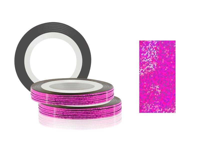 Jessnail, Фольга для дизайна в рулонах 20м*0,8мм №23, голография розовый - Laser pinkСамоклеющаяся лента для дизайна ногтей<br>Фольга для дизайна в рулонах 20м*8мм №23, голография розовый<br>