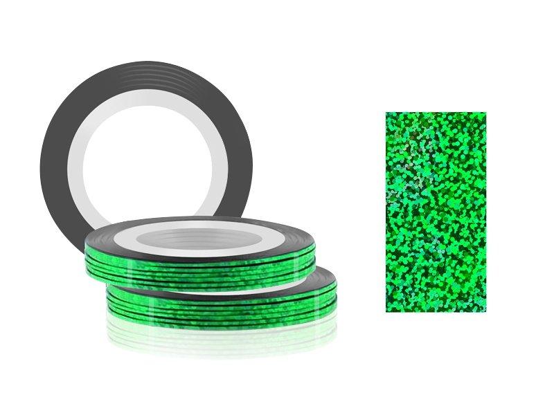Jessnail, Фольга для дизайна в рулонах 20м*0,8мм №24, голография зеленый - Laser GreenСамоклеющаяся лента для дизайна ногтей<br>Фольга для дизайна в рулонах 20м*8мм №24, голография зеленый<br>