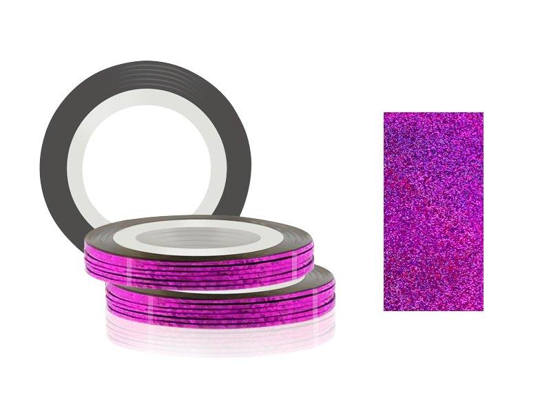 Jessnail, Фольга для дизайна в рулонах 20м*0,8мм №25, голография фиолетовый - Laser purpleСамоклеющаяся лента для дизайна ногтей<br>Фольга для дизайна в рулонах 20м*8мм №25, голография фиолетовый<br>