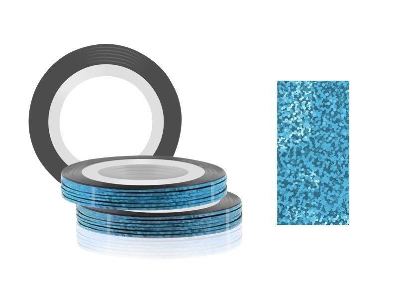 Jessnail, Фольга для дизайна в рулонах 20м*0,8мм №26, голография голубой - Laser blueСамоклеющаяся лента для дизайна ногтей<br>Фольга для дизайна в рулонах 20м*8мм №26, голография голубой<br>