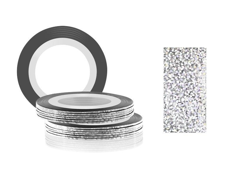 Jessnail, Фольга для дизайна в рулонах 20м*0,8мм №30, голография серебристо-серый - Laser silver greyСамоклеющаяся лента для дизайна ногтей<br>Фольга для дизайна в рулонах 20м*8мм №30, голография серебристо-серый<br>