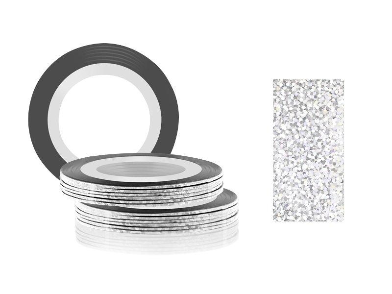 Jessnail, Фольга для дизайна в рулонах 20м*0,8мм №32, голография - Transparent laserСамоклеющаяся лента для дизайна ногтей<br>Фольга для дизайна в рулонах 20м*8мм №32, голография<br>