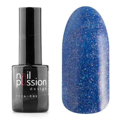 Nail Passion, Гель-лак - Синий иней 4007 (10 мл.)Nail Passion<br>Гель-лак,синий, содержит большое количество мелких голографических блесток, плотный<br>