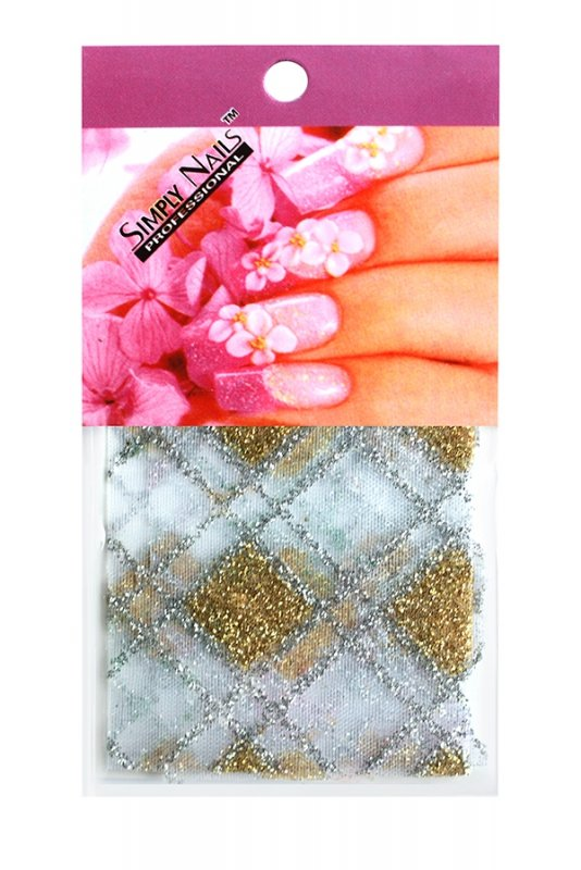 Simply Nails, Шелк для дизайна (Бело-золотой ромб)