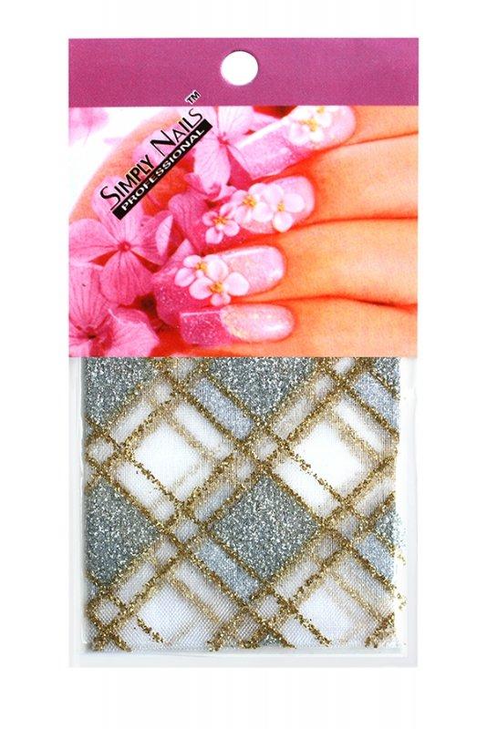 Simply Nails, Шелк для дизайна (Бело-серебристый ромб)