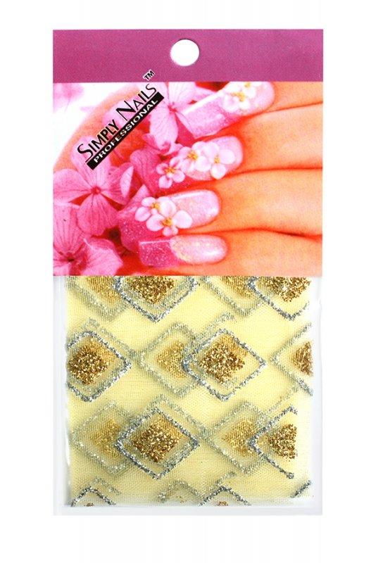 Simply Nails, Шелк для дизайна (Желто-золотой ромб)Шелк для дизайна<br>Идеально подходит для создания роскошного дизайна.<br>