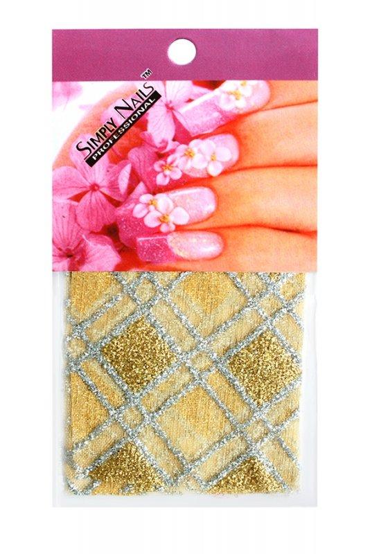 Simply Nails, Шелк для дизайна (Желто-серебряный ромб)Шелк для дизайна<br>Идеально подходит для создания роскошного дизайна.<br>