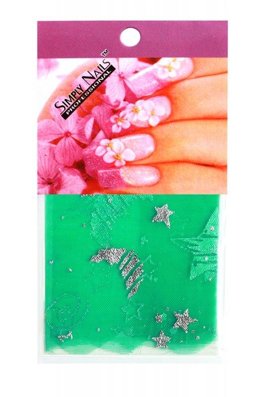 Simply Nails, Шелк для дизайна (Зеленые звезды)