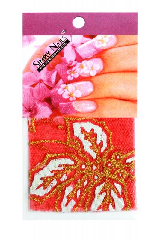 Simply Nails, Шелк для дизайна (Красно-белые листья)Шелк для дизайна<br>Идеально подходит для создания роскошного дизайна.<br>
