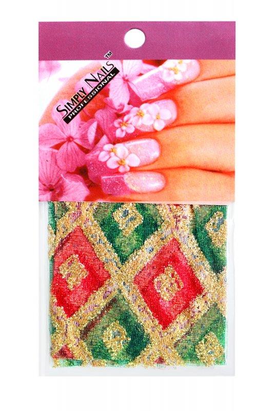 Simply Nails, Шелк для дизайна (Красно-зеленый ромб)Шелк для дизайна<br>Идеально подходит для создания роскошного дизайна.<br>