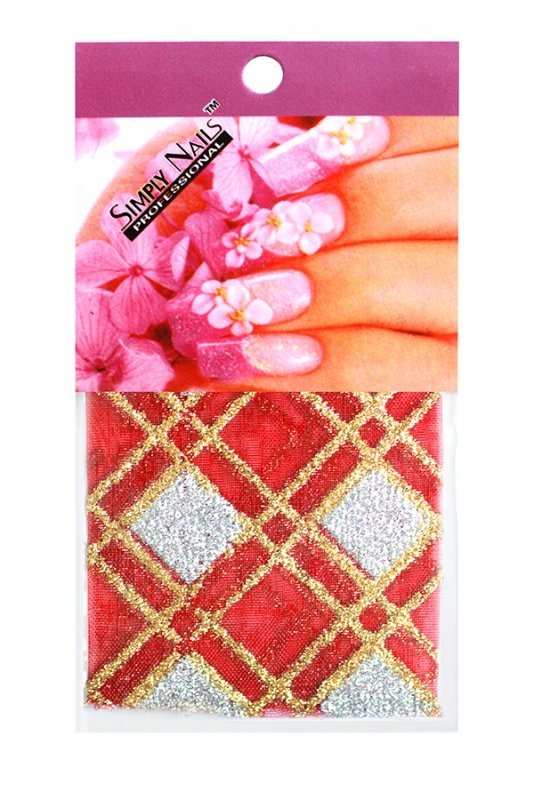 Simply Nails, Шелк для дизайна (Красно-золотой ромб)